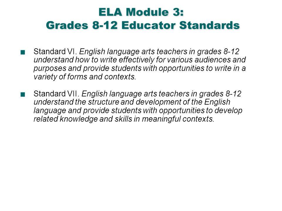 English Language Arts & Reading 5 ELA Module 3: Grades 8-12 Educator Standards Standard VI. English language arts teachers in grades 8-12 understand h