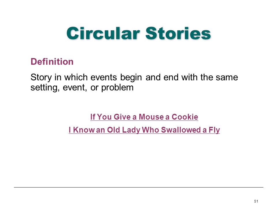 51 Circular Stories Definition Story in which events begin and end with the same setting, event, or problem If You Give a Mouse a Cookie I Know an Old