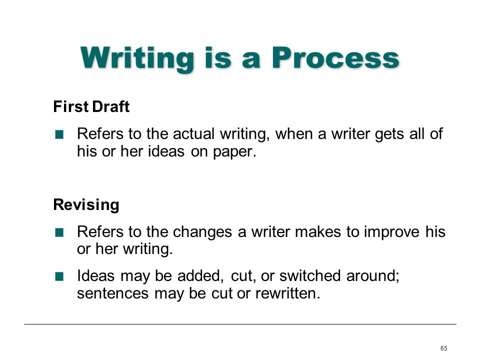 65 Writing is a Process First Draft Refers to the actual writing, when a writer gets all of his or her ideas on paper. Revising Refers to the changes