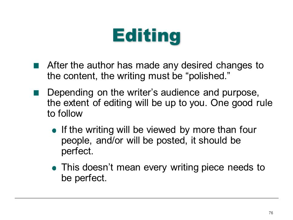 76 Editing After the author has made any desired changes to the content, the writing must be polished. Depending on the writers audience and purpose,