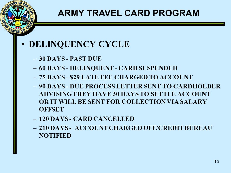 ARMY TRAVEL CARD PROGRAM 10 DELINQUENCY CYCLE –30 DAYS - PAST DUE –60 DAYS - DELINQUENT - CARD SUSPENDED –75 DAYS - $29 LATE FEE CHARGED TO ACCOUNT –9