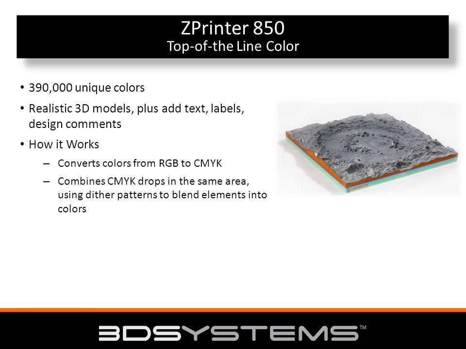 Top-of-the Line Color ZPrinter 850 Top-of-the Line Color 390,000 unique colors Realistic 3D models, plus add text, labels, design comments How it Works – Converts colors from RGB to CMYK – Combines CMYK drops in the same area, using dither patterns to blend elements into colors