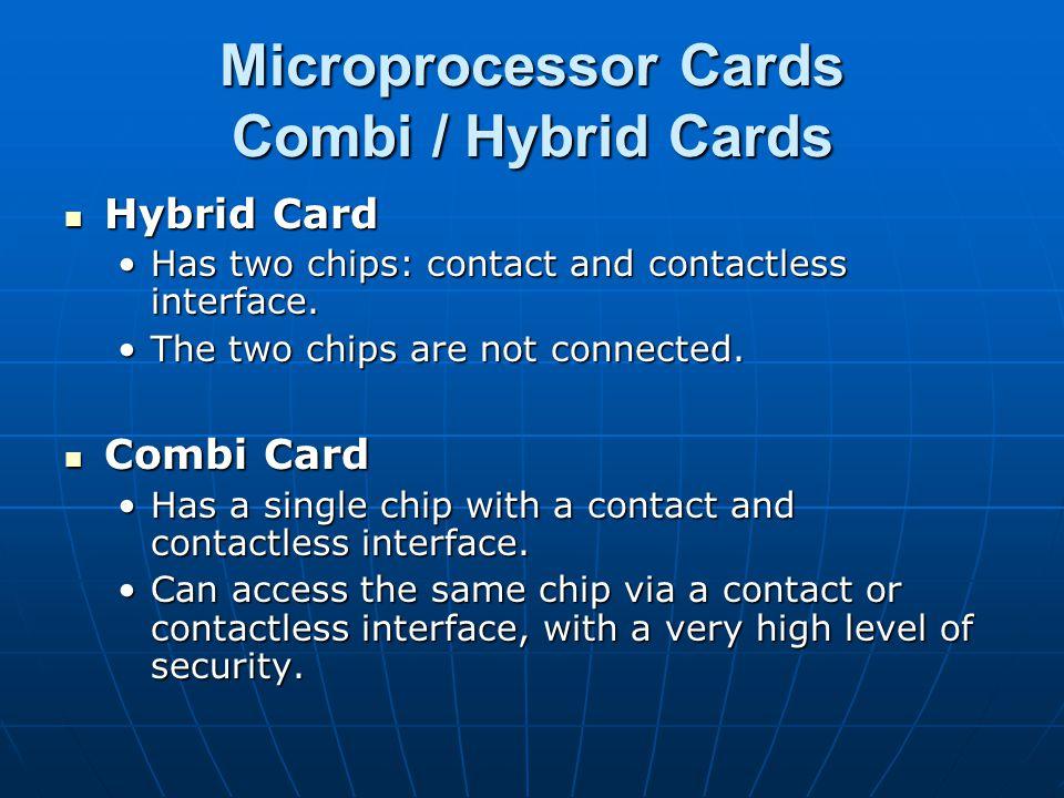 Microprocessor Cards Combi / Hybrid Cards Hybrid Card Hybrid Card Has two chips: contact and contactless interface.Has two chips: contact and contactl