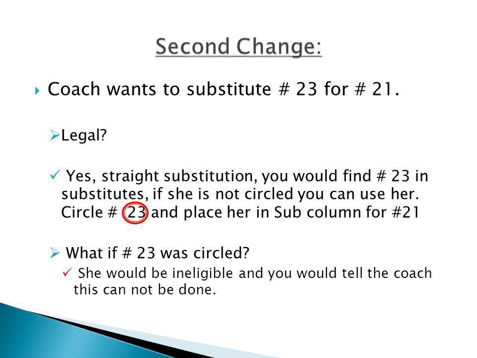 Coach wants to substitute # 23 for # 21. Legal.