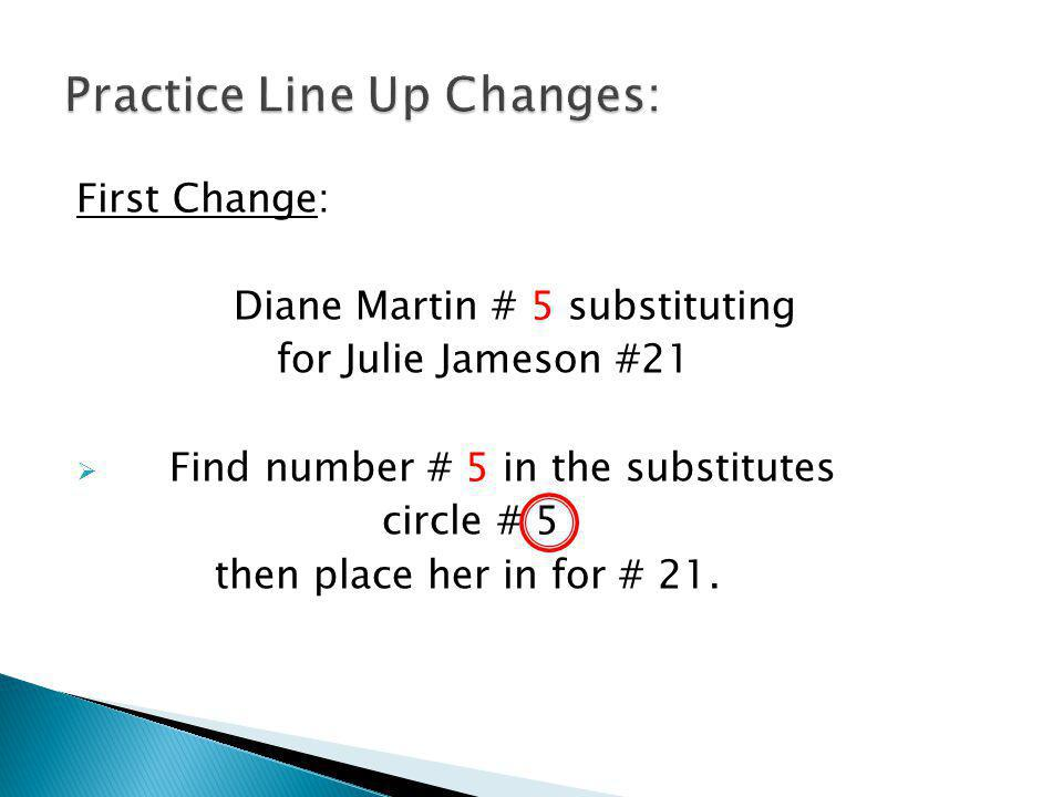 First Change: Diane Martin # 5 substituting for Julie Jameson #21 Find number # 5 in the substitutes circle # 5 then place her in for # 21.