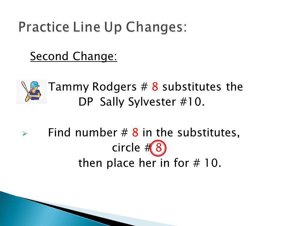 Second Change: Tammy Rodgers # 8 substitutes the DP Sally Sylvester #10.