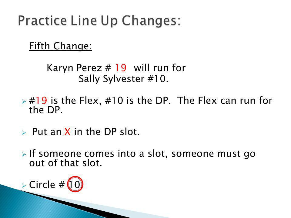 Fifth Change: Karyn Perez # 19will run for Sally Sylvester #10.