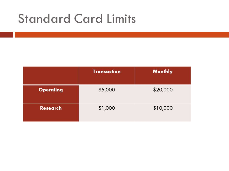 Standard Card Limits TransactionMonthly Operating$5,000$20,000 Research$1,000$10,000
