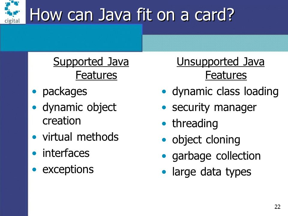 22 How can Java fit on a card? Supported Java Features packages dynamic object creation virtual methods interfaces exceptions Unsupported Java Feature