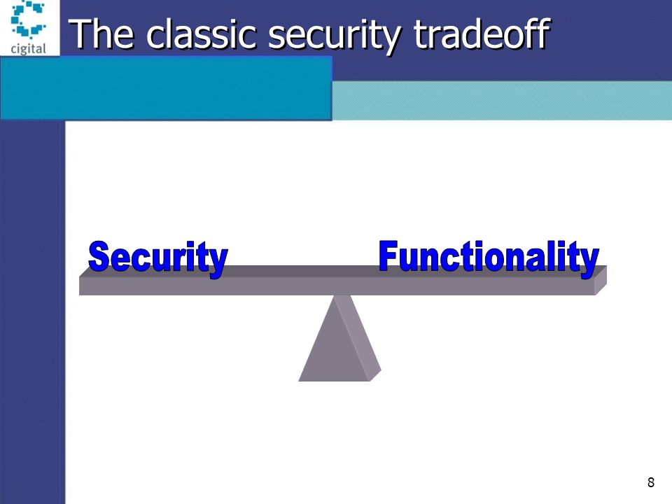 8 The classic security tradeoff