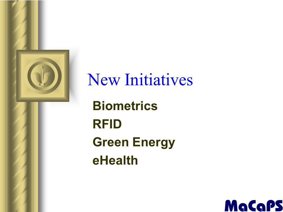 New Initiatives Biometrics RFID Green Energy eHealth