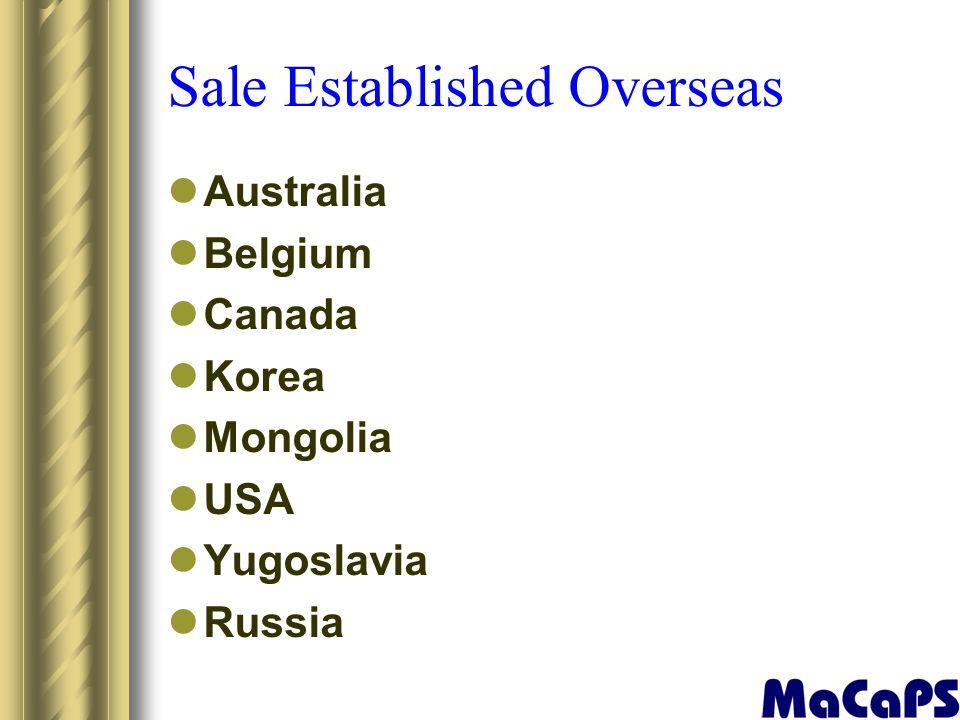 Sale Established Overseas Australia Belgium Canada Korea Mongolia USA Yugoslavia Russia