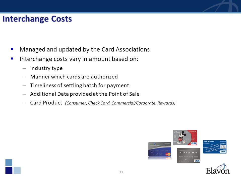 11 Interchange Costs Managed and updated by the Card Associations Interchange costs vary in amount based on: – Industry type – Manner which cards are