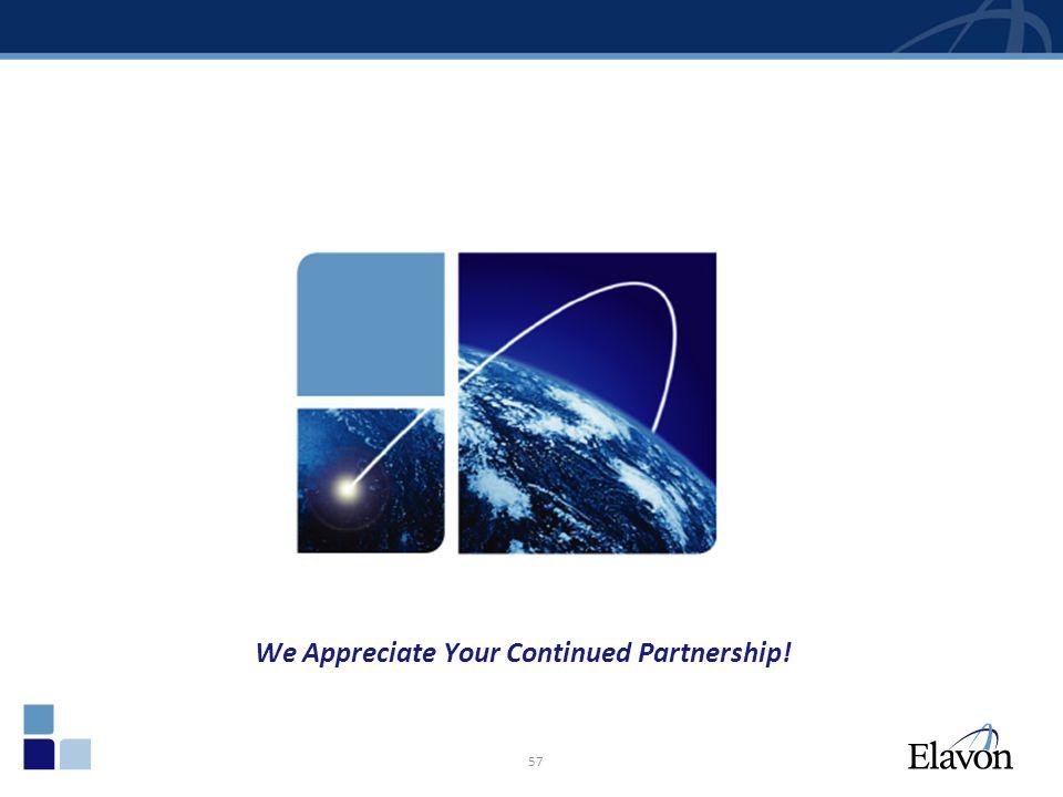 57 We Appreciate Your Continued Partnership!