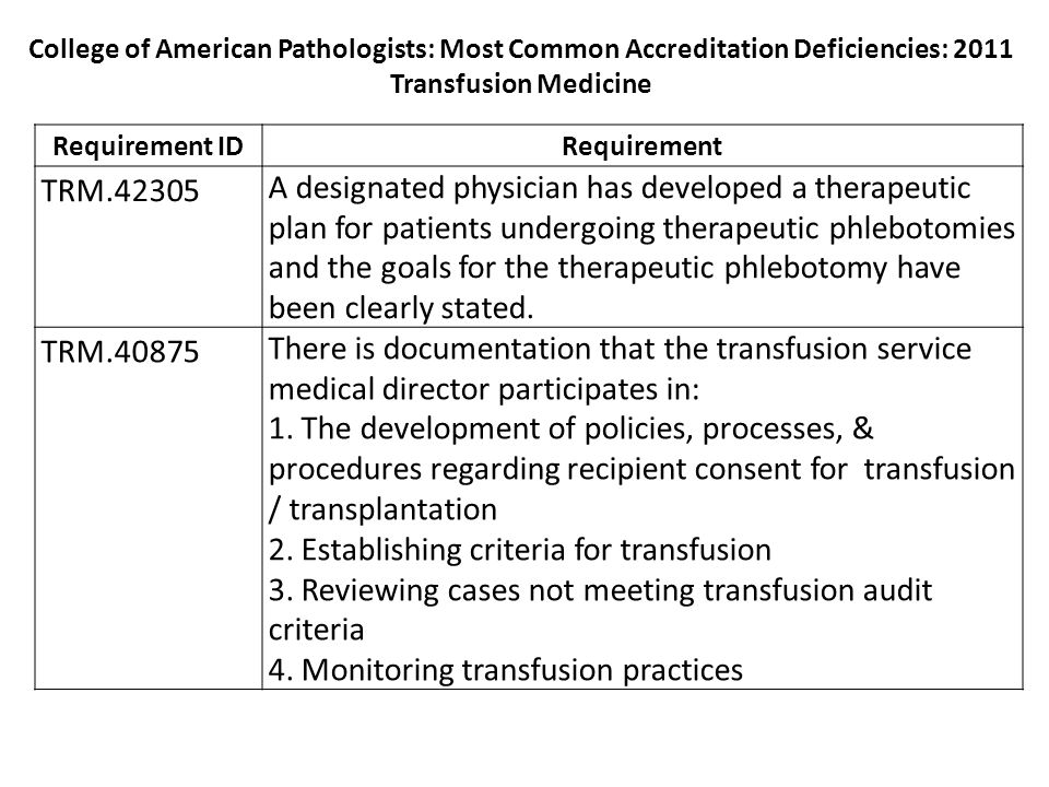 Requirement IDRequirement TRM.42305 A designated physician has developed a therapeutic plan for patients undergoing therapeutic phlebotomies and the goals for the therapeutic phlebotomy have been clearly stated.