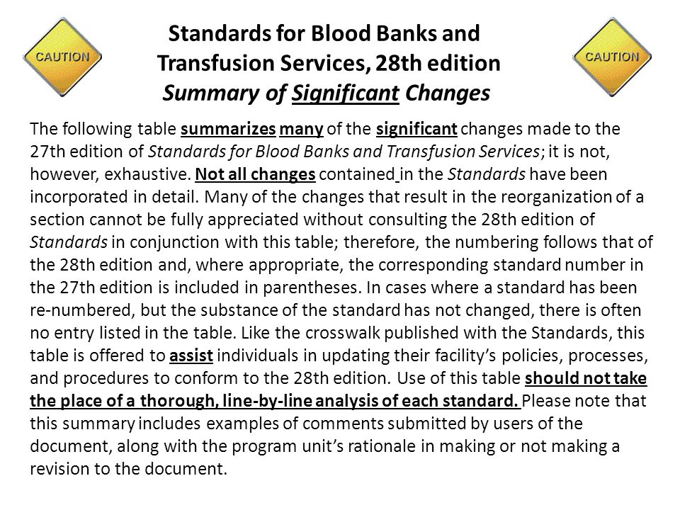 Standards for Blood Banks and Transfusion Services, 28th edition Summary of Significant Changes The following table summarizes many of the significant changes made to the 27th edition of Standards for Blood Banks and Transfusion Services; it is not, however, exhaustive.