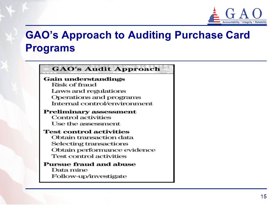 15 GAOs Approach to Auditing Purchase Card Programs