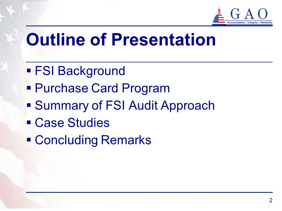 2 Outline of Presentation FSI Background Purchase Card Program Summary of FSI Audit Approach Case Studies Concluding Remarks