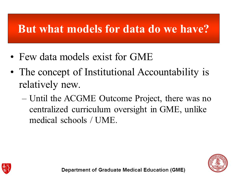 Department of Graduate Medical Education (GME) But what models for data do we have? Few data models exist for GME The concept of Institutional Account