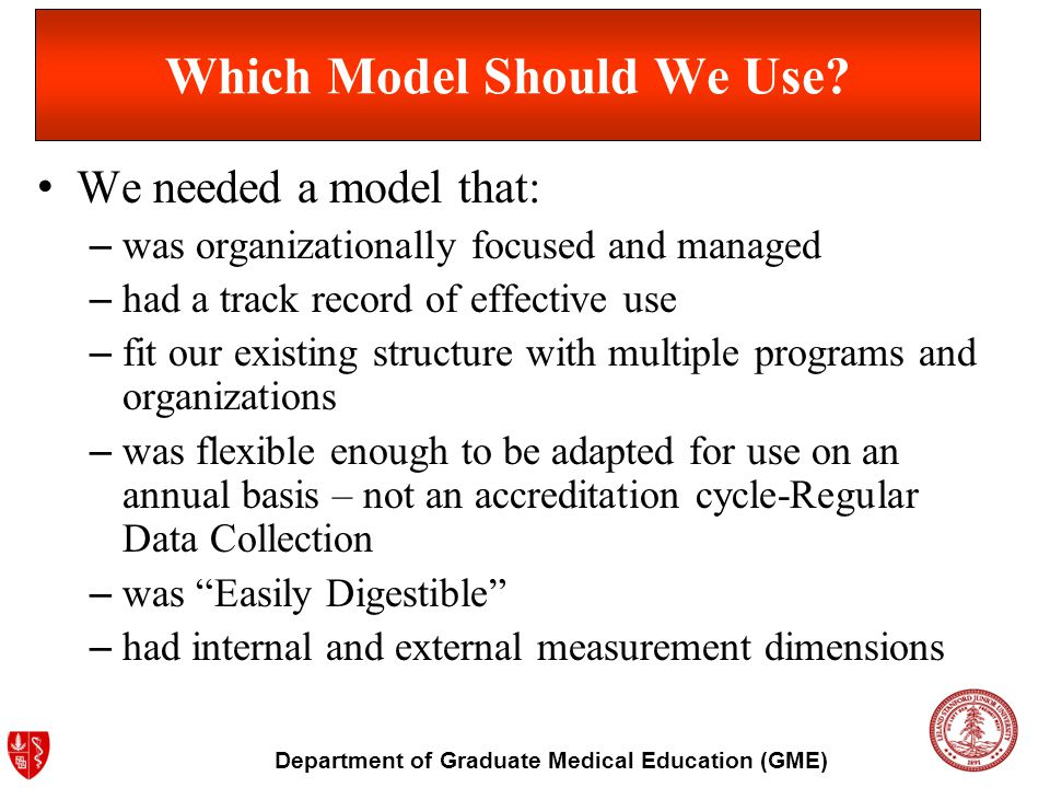 Department of Graduate Medical Education (GME) Which Model Should We Use? We needed a model that: – was organizationally focused and managed – had a t