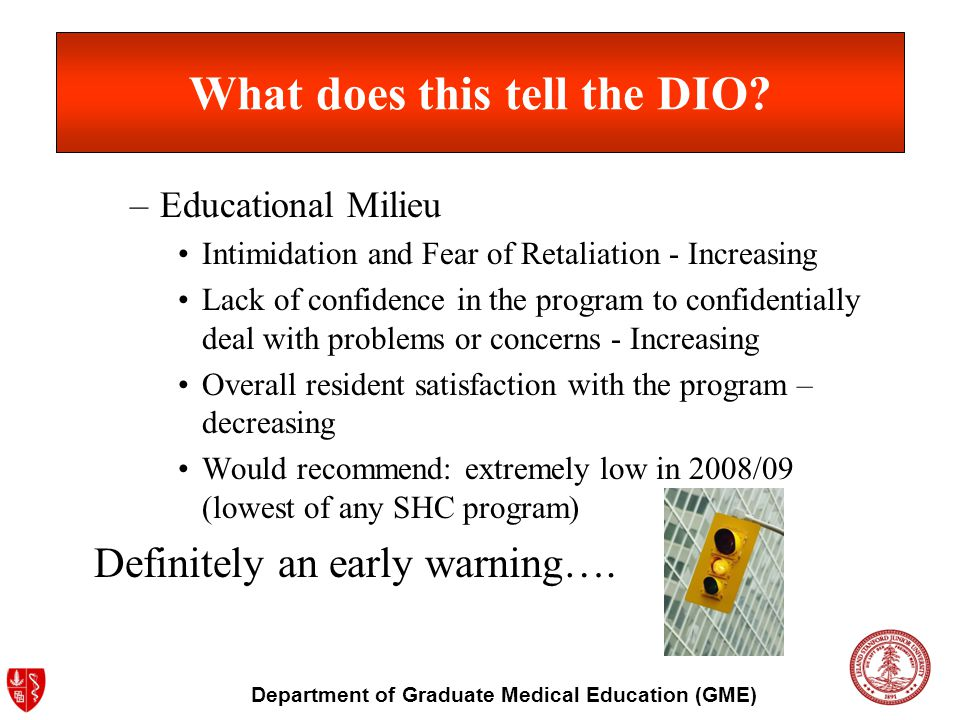 Department of Graduate Medical Education (GME) What does this tell the DIO? –Educational Milieu Intimidation and Fear of Retaliation - Increasing Lack
