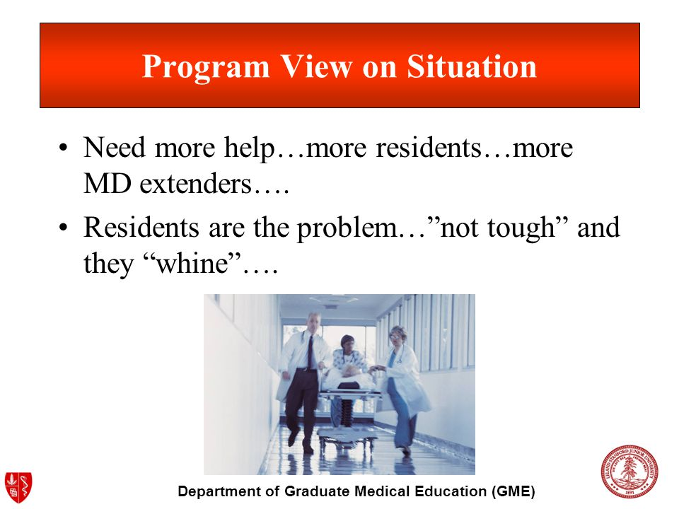 Department of Graduate Medical Education (GME) Program View on Situation Need more help…more residents…more MD extenders….