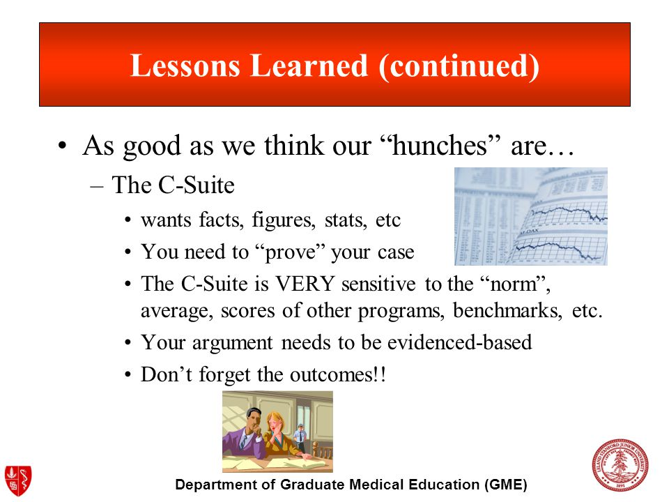 Department of Graduate Medical Education (GME) Lessons Learned (continued) As good as we think our hunches are… –The C-Suite wants facts, figures, sta