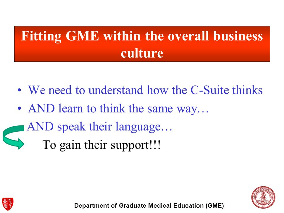 Department of Graduate Medical Education (GME) Fitting GME within the overall business culture We need to understand how the C-Suite thinks AND learn