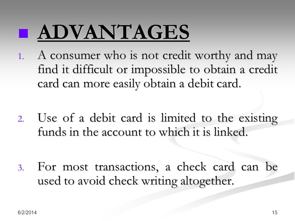 6/2/2014 15 ADVANTAGES ADVANTAGES 1.