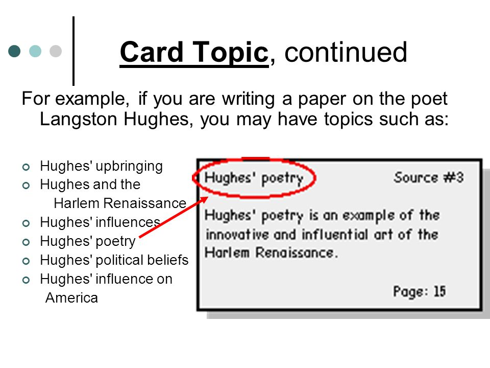 Card Topic, continued For example, if you are writing a paper on the poet Langston Hughes, you may have topics such as: Hughes' upbringing Hughes and