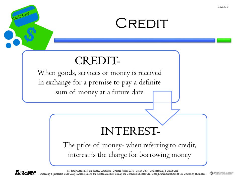 Credit Card © Family Economics & Financial Education –Updated March 2010– Credit Unit – Understanding a Credit Card Funded by a grant from Take Charge