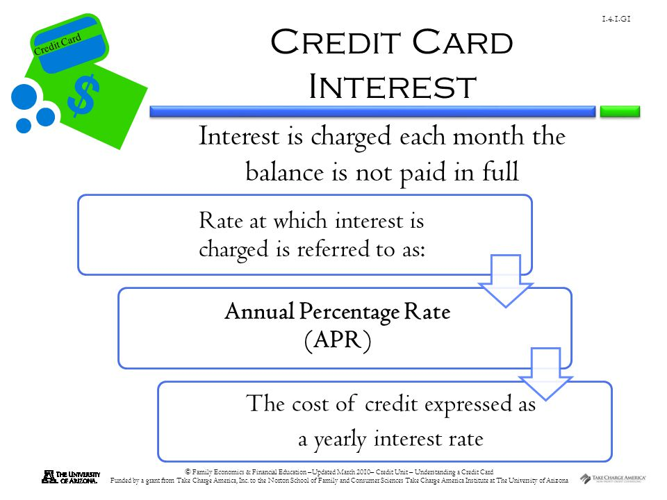 Credit Card © Family Economics & Financial Education –Updated March 2010– Credit Unit – Understanding a Credit Card Funded by a grant from Take Charge America, Inc.