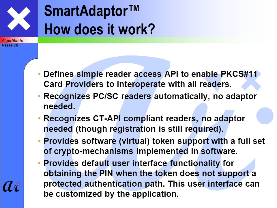 Algorithmic Research SmartAdaptor How does it work.