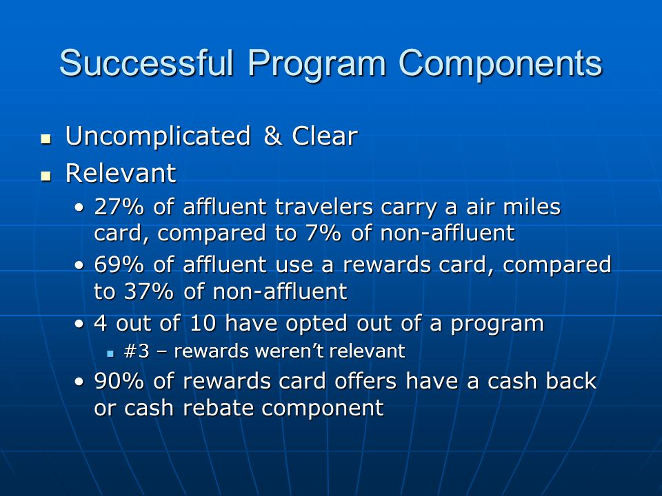 Successful Program Components Uncomplicated & Clear Uncomplicated & Clear Relevant Relevant 27% of affluent travelers carry a air miles card, compared to 7% of non-affluent27% of affluent travelers carry a air miles card, compared to 7% of non-affluent 69% of affluent use a rewards card, compared to 37% of non-affluent69% of affluent use a rewards card, compared to 37% of non-affluent 4 out of 10 have opted out of a program4 out of 10 have opted out of a program #3 – rewards werent relevant #3 – rewards werent relevant 90% of rewards card offers have a cash back or cash rebate component90% of rewards card offers have a cash back or cash rebate component