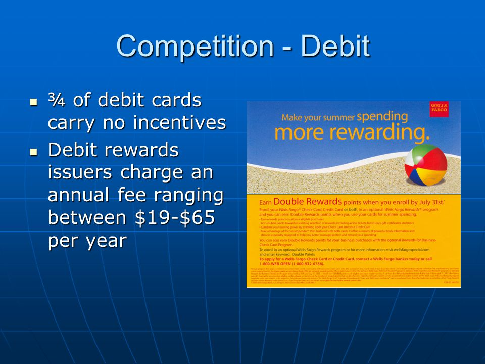Opportunity 50% of credit card used in 2004 were not in the cardholders wallets a year ago The average monthly new charges in the first quarter for a rewards card were $943 compared to $360 for a non- rewards card – Synovate Inside Track The average monthly new charges in the first quarter for a rewards card were $943 compared to $360 for a non- rewards card – Synovate Inside Track 2004 TNS Global Study 2004 TNS Global Study Reasons for opening a new account Rewards ranked 2 ND for all reasons listedRewards ranked 2 ND for all reasons listed Rewards ranked 1 st for most important reasonRewards ranked 1 st for most important reason Most important reasons for making card primary Rewards ranked 1 st – 27%Rewards ranked 1 st – 27%