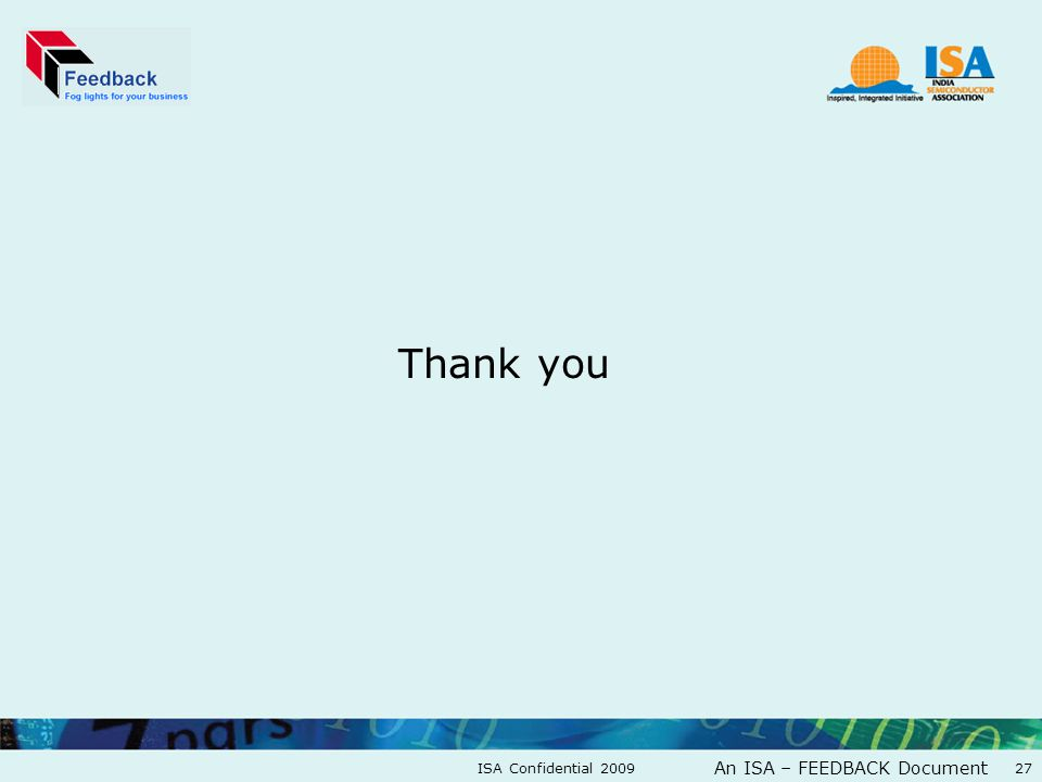 An ISA – FEEDBACK Document Thank you ISA Confidential 200927