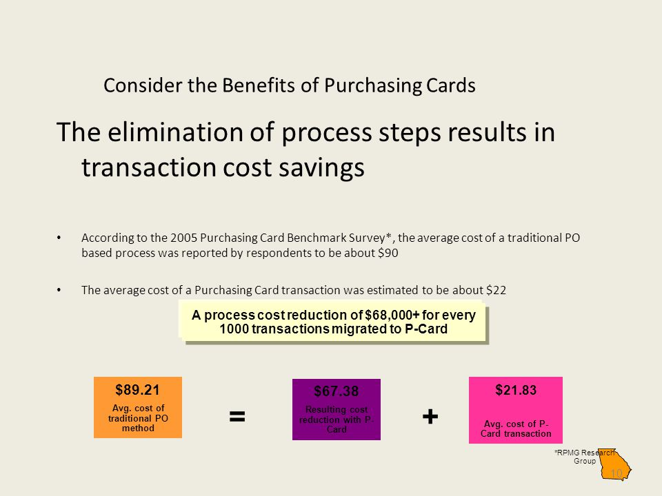 Consider the Benefits of Purchasing Cards The elimination of process steps results in transaction cost savings According to the 2005 Purchasing Card Benchmark Survey*, the average cost of a traditional PO based process was reported by respondents to be about $90 The average cost of a Purchasing Card transaction was estimated to be about $22 10 $89.21 Avg.