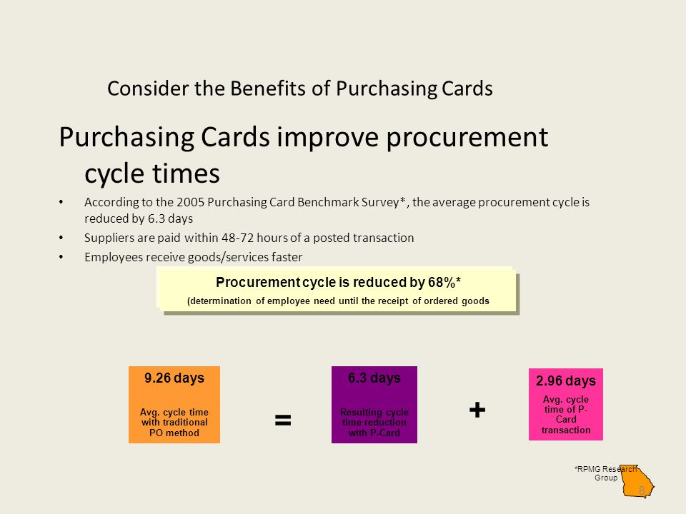 Consider the Benefits of Purchasing Cards Purchasing Cards improve procurement cycle times According to the 2005 Purchasing Card Benchmark Survey*, th
