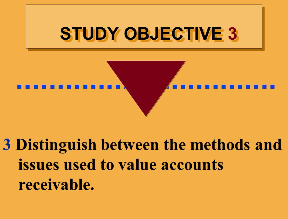 STUDY OBJECTIVE 3................................ 3 Distinguish between the methods and issues used to value accounts receivable.