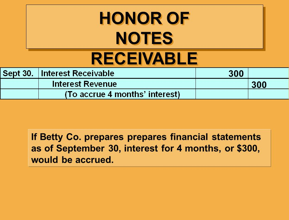 HONOR OF NOTES RECEIVABLE If Betty Co.