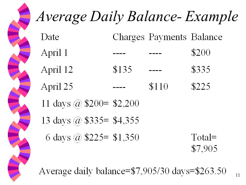 11 Average Daily Balance- Example