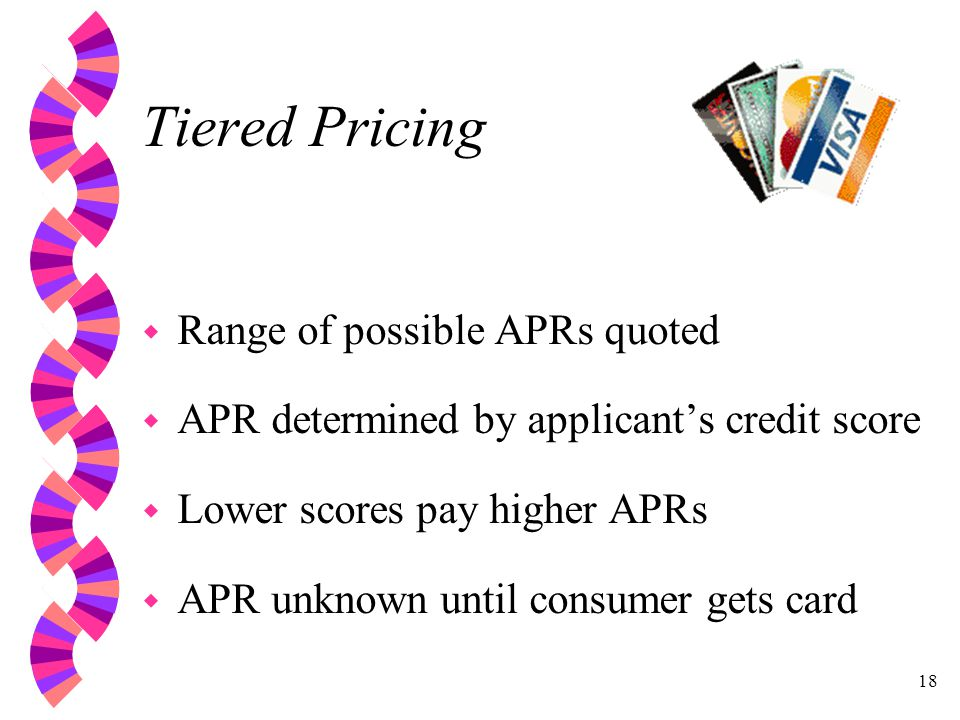 18 Tiered Pricing w Range of possible APRs quoted w APR determined by applicants credit score w Lower scores pay higher APRs w APR unknown until consumer gets card