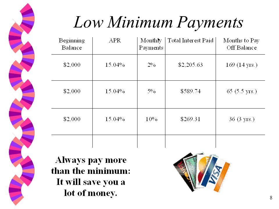 8 Low Minimum Payments.