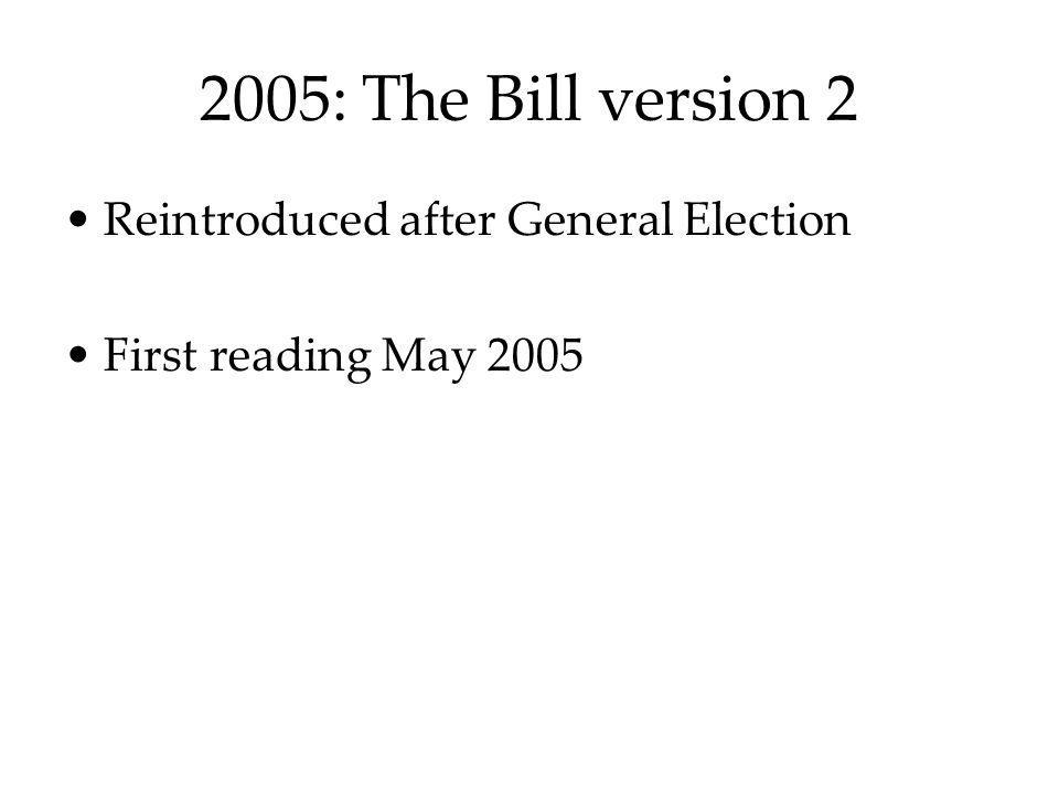2005: The Bill version 2 Reintroduced after General Election First reading May 2005