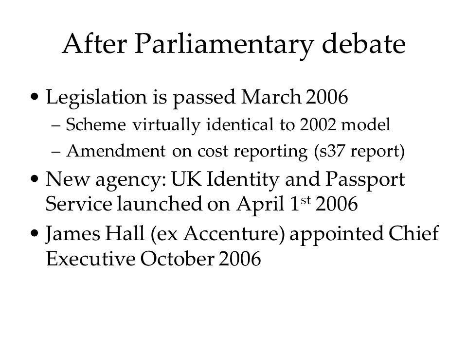 After Parliamentary debate Legislation is passed March 2006 –Scheme virtually identical to 2002 model –Amendment on cost reporting (s37 report) New ag
