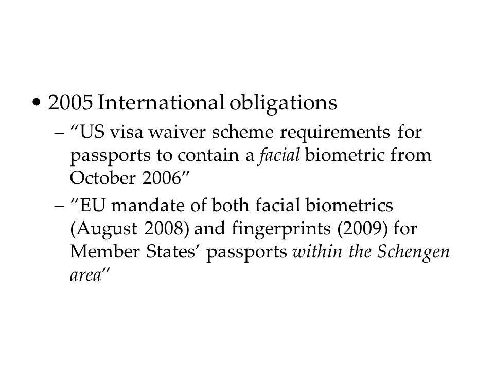 2005 International obligations –US visa waiver scheme requirements for passports to contain a facial biometric from October 2006 –EU mandate of both f