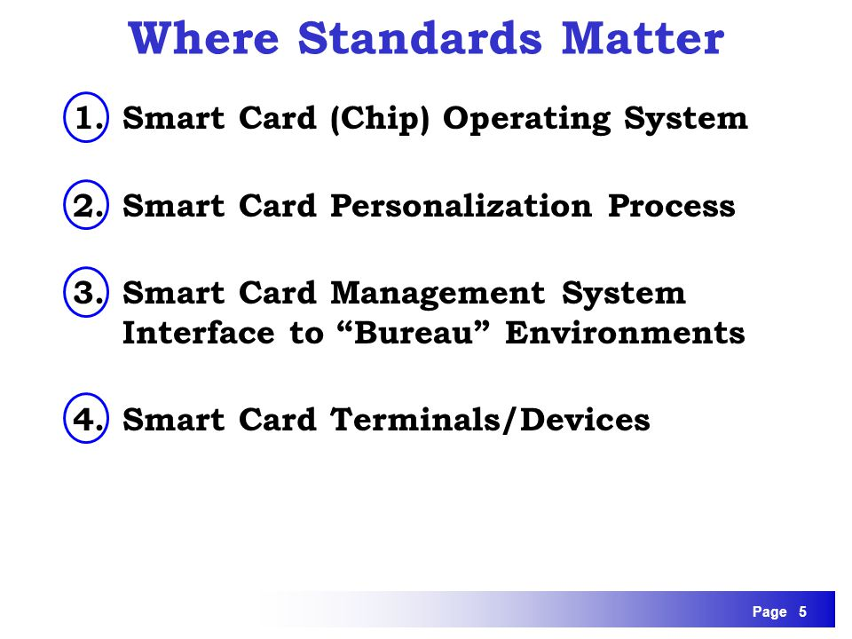 Page 5 1.Smart Card (Chip) Operating System 2.Smart Card Personalization Process 3.Smart Card Management System Interface to Bureau Environments 4.Sma