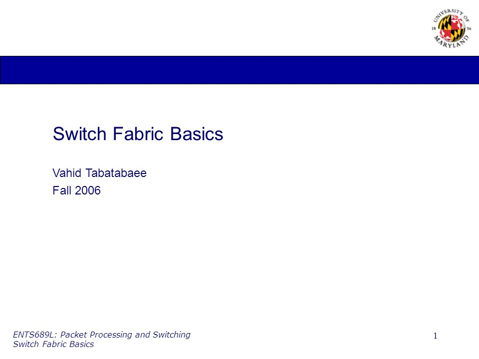 1 ENTS689L: Packet Processing and Switching Switch Fabric Basics Switch Fabric Basics Vahid Tabatabaee Fall 2006