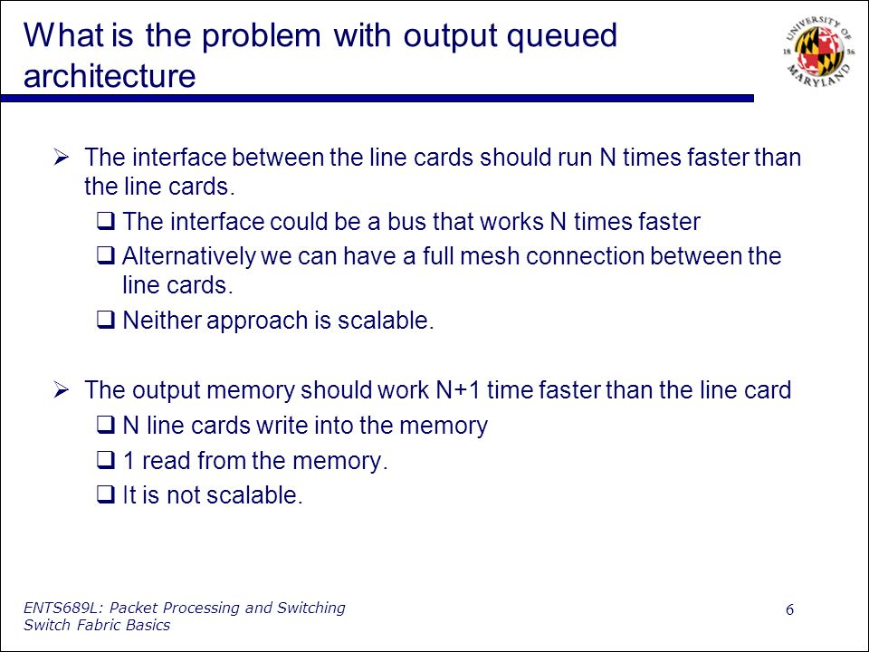 6 ENTS689L: Packet Processing and Switching Switch Fabric Basics What is the problem with output queued architecture The interface between the line cards should run N times faster than the line cards.