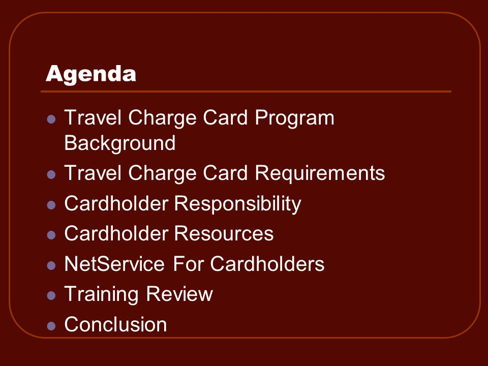 Travel Charge Card Program Background
